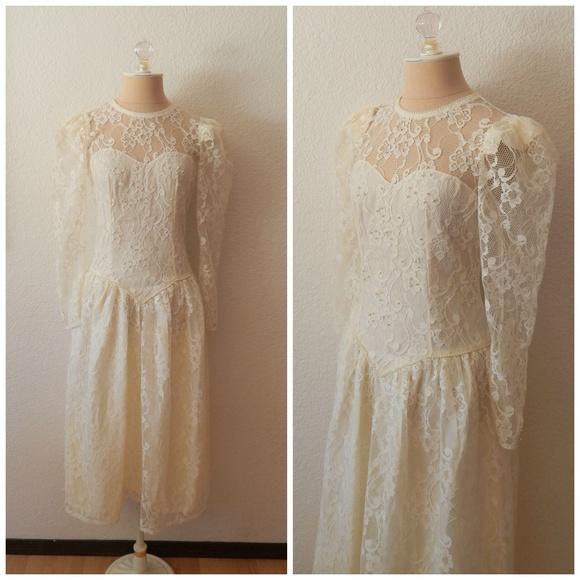 Vintage Dresses | 90s Pouf Lace Pearl Wedding Dress | Poshmark